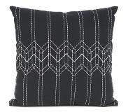 Columbine Cushion Stitched Flow black w. mouse grey square