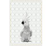Columbine Tea towel Cockatoo w. cotton ochre yellow stitch