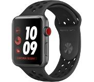 Apple Watch Nike+ Series 3 GPS+LTE 42mm Aluminium spacegrau Sportarmband anthrazit /, musta