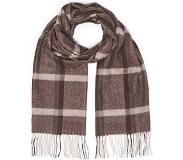 Begg & Co Jura Checked Lambswool/Angora Scarf Brown Natural