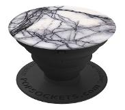 PopSockets White Marble Stand & Grip Musta, Marble colour, Valkoinen